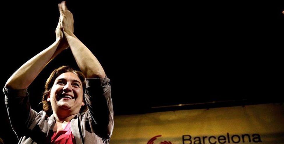 Ada Colau május 24-én este, a győzelmet ünnepelve; eldiario.es