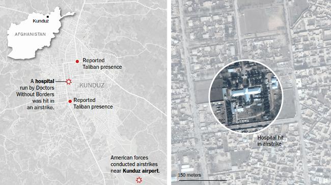 A The New York Times grafikája a kunduzi légicsapásról