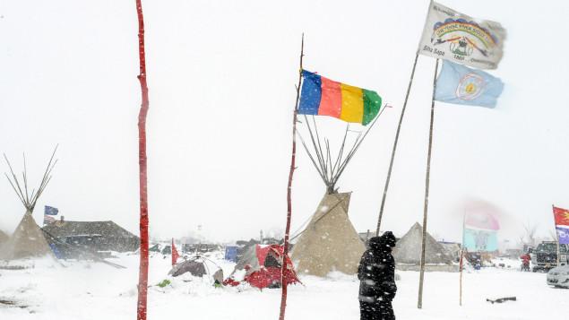 A hóval borított Oceti Sakowi tábor; Fotó: Reuters / Stephanie Keith