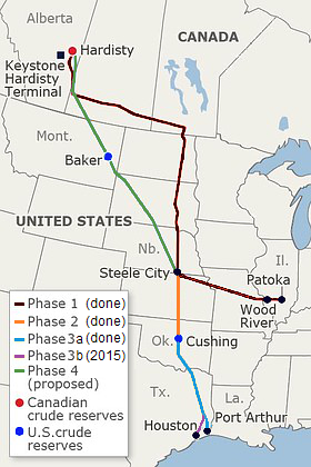 A zölddel jelölt szakasz építése hiúsult meg Obama vétójával tavaly novemberben; Forrás: Wikipedia