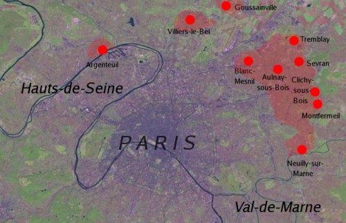 Az egy hét leforgása alatt az egész országra kiterjedő lázadások térképén az elsőként bekapcsolódó települések, köztük Aulnay; forrás: Wikipedia