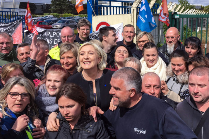 French presidential ele Whirlpool factory in Amiens, northern France, on April 26, 2017. French far-right presidential candidate Marine Le Pen upstaged her rival Emmanuel Macron by making a surprise visit to an under-threat factory just as he was visiting the town where it is based.  / AFP PHOTO / STR        (Photo credit should read STR/AFP/Getty Images)