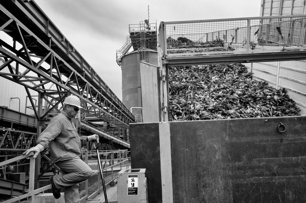 """Alvaro Ybarra Zavala """"Utazás a Roundup földjére"""" című fotósorozata kíséri a Le Monde 3 témának szentelt cikkét. Ezen a képen a Monsanto gyára az argentin Rojasban 2014-ben, ez a világ legnagyobb genetikusan módosított kukorica vetőmagot előállító üzeme."""