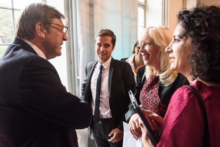 Balról, jobbra: Guy Verhofstadt (ALDE), Pieyre-Alexandre Anglade, a Macron kampánystáb tagja, Iveta Radičová, szlovák ex-miniszterelnök, Zora Jaurova, PS. Fotó: Tomáš Halász Photography, Pozsony, Szlovákia.