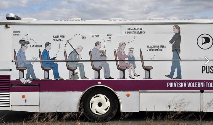 """A Kalózpárt választási """"börtönbusza"""". Balról jobbra: Babiš, Rath, Kalousek, Nagyova+Nečas, üres szék: """"egy csaló mondjuk az ön körzetéből? es végül az álló figura: Igazságtevő Bartoš"""