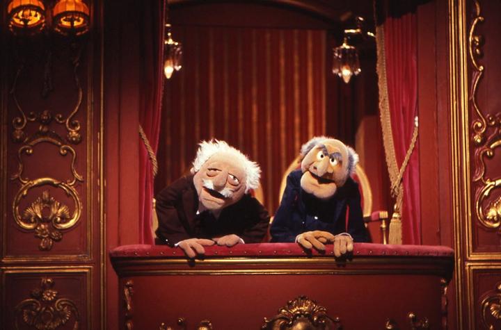Statler és Walfdorf, a Muppet-show két cinikus öregembere.