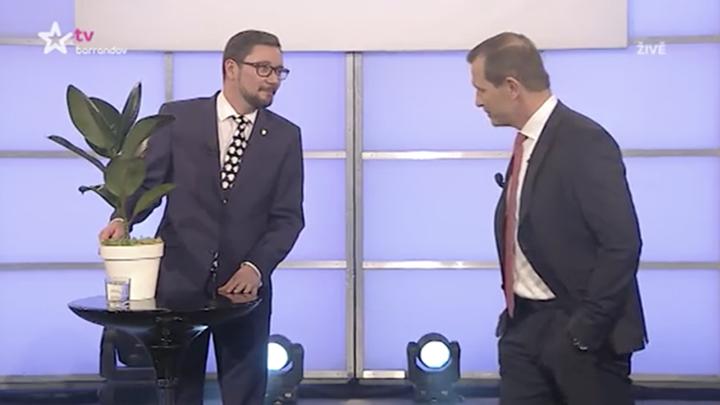 Ovčáček, Zeman elnök szóvivője és a kampány alatt gyakori helyettesítője a TV Barrandov studiójába egy fikusszal érkezett, ami szerinte hűen helyettesítheti a vitalehetőséget visszautasító Drahoš jelöltet. Kép: idnes.tv.