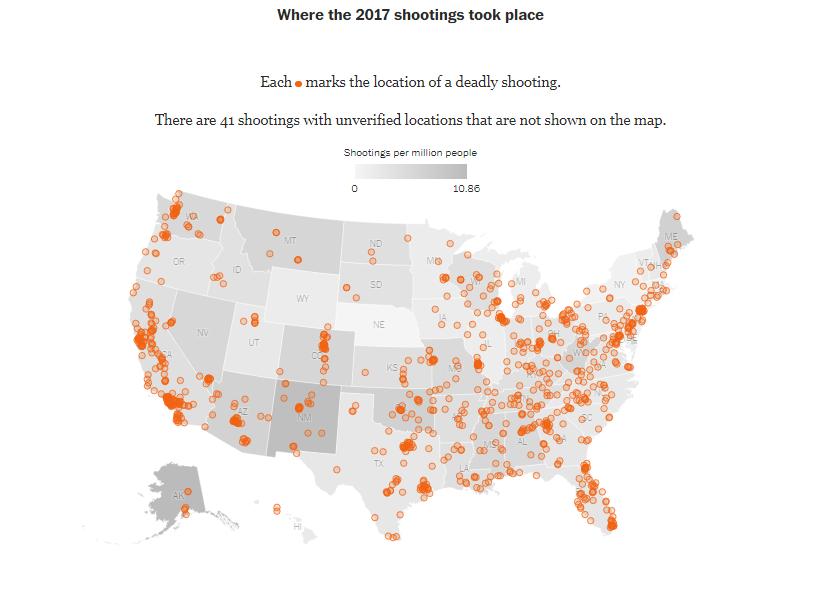 A lövöldözések földrajzi elhelyezkedése, forrás: Washington Post