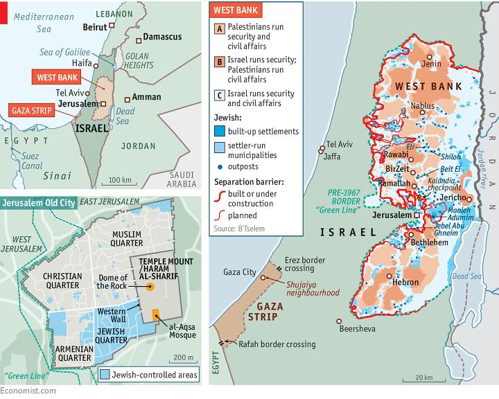 A Nyugati Parton (West Bank) kékkel jelölt területeket az izraeliek, a barnával jelölt területet a palesztinok ellenőrzik. Economist-grafika.