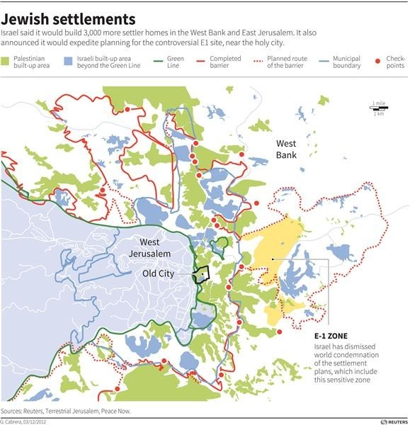 ISRAEL PALESTINIANS - Map of Jerusalem and the West Bank showing the Israeli settlements in the area, including the E-1 zone where Israel plans to build thousands of settler homes. RNGS. (SIN04)