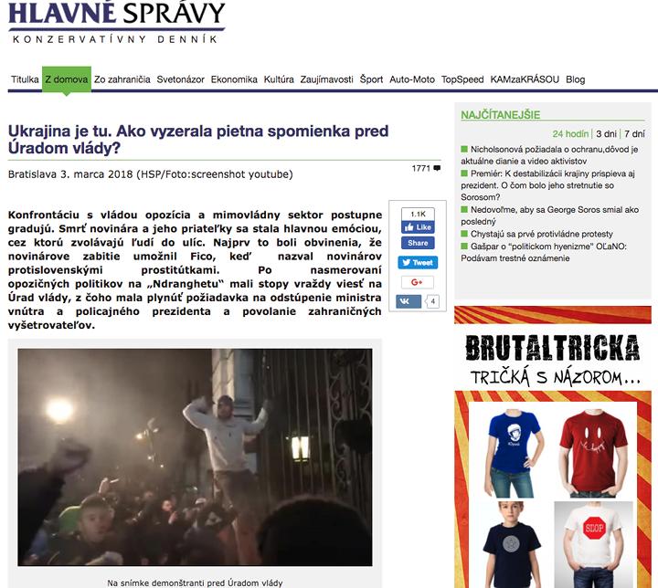 Kép: A Hlavné spravy szlovák dezinformációs weblap már szlovák majdant fantáziált a pénteki megemlékezésről, printscreen.