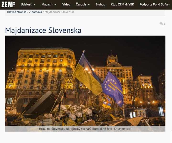 Kép: A Zem a vek dezinfomrációs weboldal Szlovákia Majdanjáról ír, printscreen.