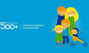 A vezető képen a Rodzina 500+ projekt népszerűsítő kampányanyaga látható.