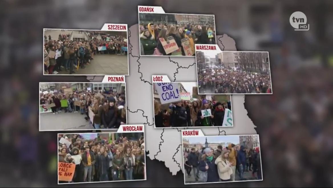 Fridays for Future - Lengyelország. Fotó: tvn24.pl, screenshot.