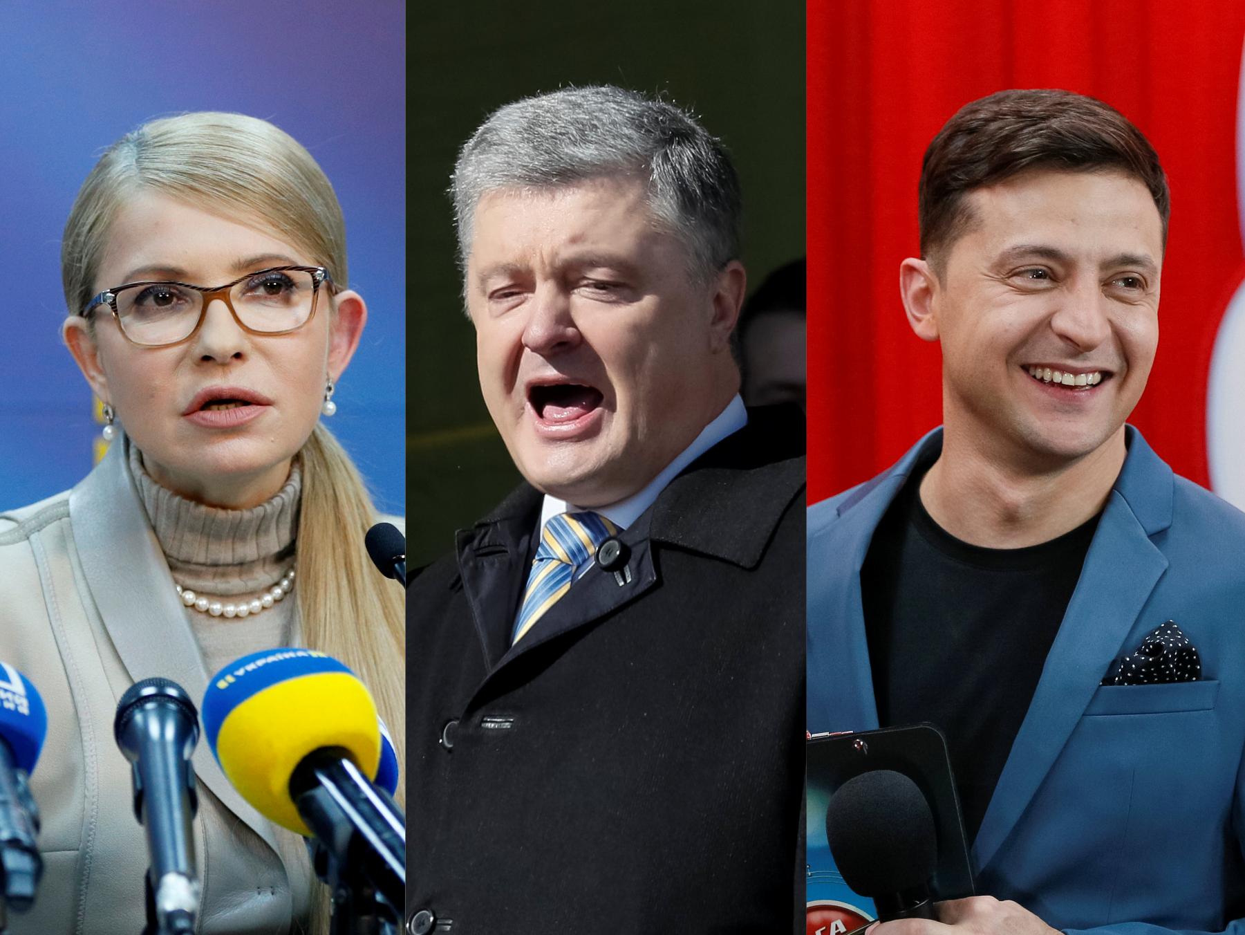 A vezető képen Julia Vologyimirivnya Tyimosenko volt ukrán miniszterelnök, Petro Porosenko Ukrajna jelenlegi elnöke, és Vologyimir Zelenszkij színész, komédiás és producer a jelenlegi elnökválasztás fő esélyese láthtó. Kollázs, rozhlas.cz.