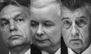 A vezető képen balról jobbra Orbán Viktor magyar miniszterelnököt, Jarosław Kaczyński a Pis lengyel korménypárt elnökét és Andrej Babiš cseh miniszterelnököt látják. A kép forrása: Bloomberg, montázs.
