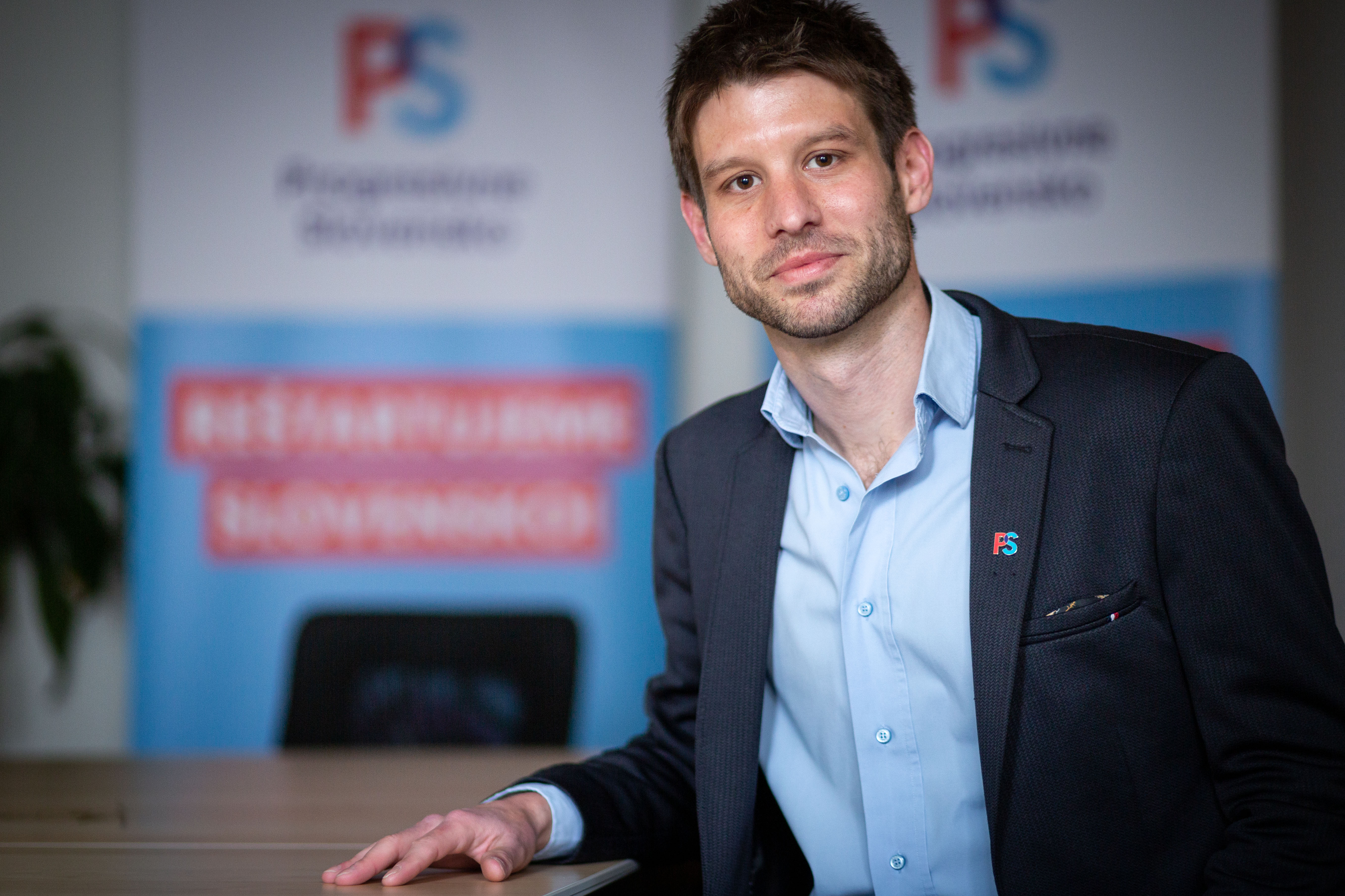 Michal Šimečka, a Progresszív Szlovákia-Spolu közös lista listavezetője. Fotó: Denník N, Tomáš Benedikovič