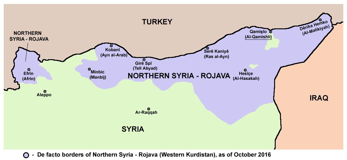Ábra: Az észak-szíriai Rojava kiterjedése 2016 nyarán. Forrás: Wikipédia