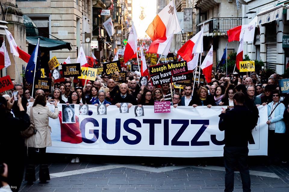 Tüntetés Valletta