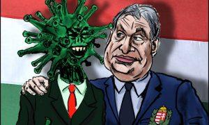 Jean Gouders: Orbán legjobb új barátja. Orbán a koronavírus krízisét használja fel államcsínye legitimiálására. Forrás: cartoonmovement.com