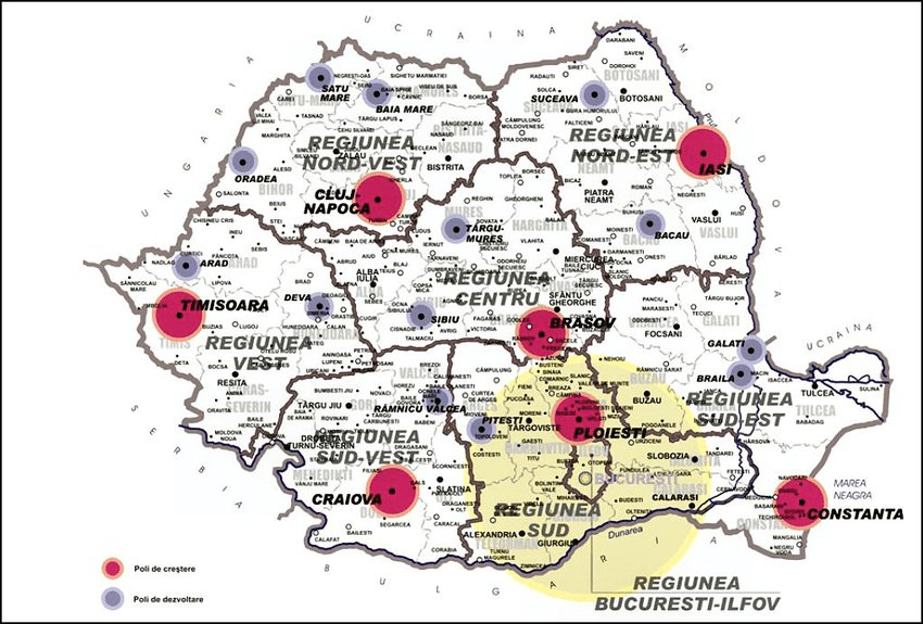 Növekedési pólusok és fejlődési pólusok Forrás: Comitetul Consultativ privind Coeziunea teritorială (2012)