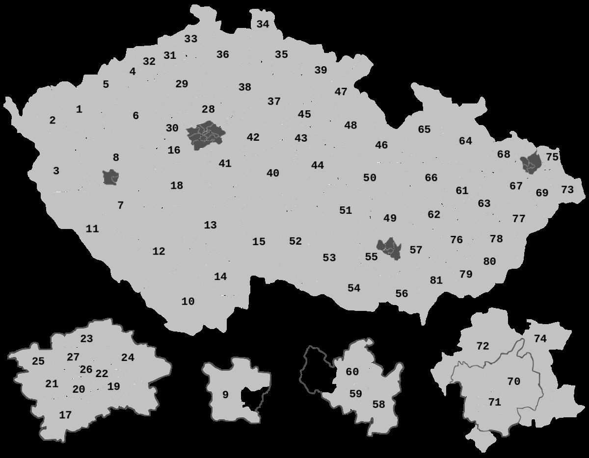 Szenátusi választási körzetek, Csehország. Forrás: Wikipédia