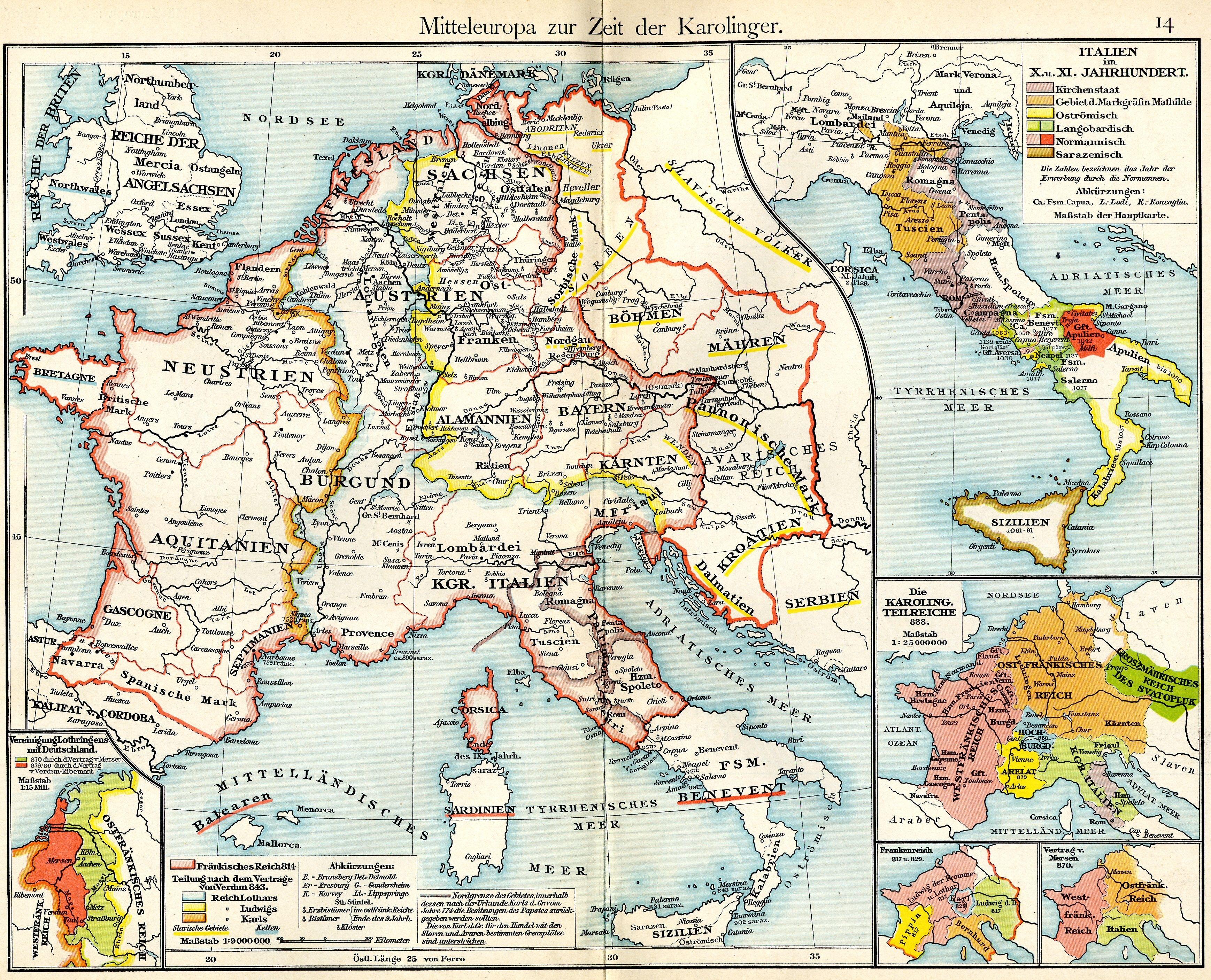 Közép-Európa a Karoling időszakban. Készült: Lipcse, 1877. Forrás: Wikipédia.